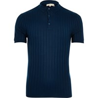 River Island Mens Navy Blue Muscle Fit Ribbed Polo Shirt