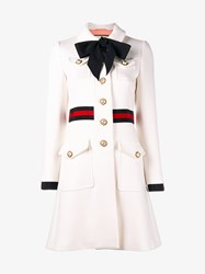 Gucci Wool Cotton Blend Web Belt Coat White Black Pearl Red