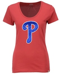 '47 Brand Women's Philadelphia Phillies Satin Scoop T Shirt Red