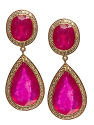 Jade Jagger Double Ruby Earrings With Diamonds Red