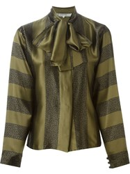 Jean Louis Scherrer Vintage Mixed Print Bow Blouse Green