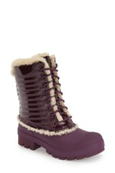 Hunter Original Genuine Shearling And Patent Leather Lace Up Rain Boot Purple