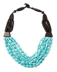Viktoria Hayman Wood And Turquoise Draped Necklace