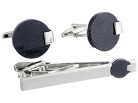 Stacy Adams Link And Tie Bar Set Black Silver Cuff Links