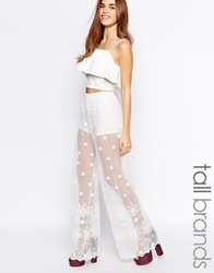 Glamorous Tall Embroidered Lace Wide Leg Trouser White