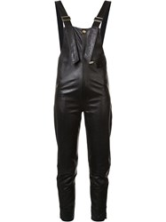 Chloe Leather Biker Dungarees Black