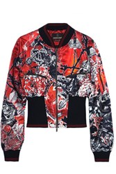 Roberto Cavalli Printed Ribbed Jersey Trimmed Satin Bomber Jacket Red