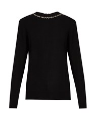 Raey Embellished Ric Rac Zip Back Cashmere Sweater Black