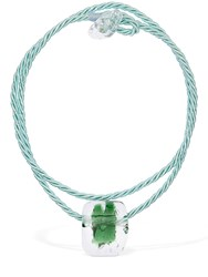 Maryam Nassir Zadeh Abstract Shape Glass Necklace Green