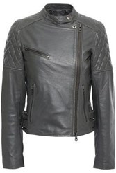 Muubaa Woman Siata Quilted Leather Biker Jacket Anthracite