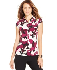 Alfani Printed Cap Sleeve Polo Top Only At Macy's Abstract Petal Purple