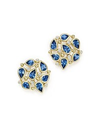 Temple St. Clair 18K Yellow Gold Pear Cluster Earrings With Sapphire And Diamonds Blue White