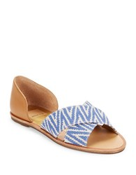 Dolce Vita Delila Crisscross Leather Peep Toe Flats Blue
