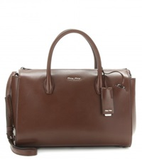 Miu Miu Leather Tote Brown