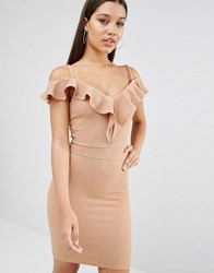 Oh My Love Off The Shoulder Frill Midi Dress Caramel Brown