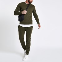 River Island Dark Green Crew Neck Long Sleeve Sweatshirt