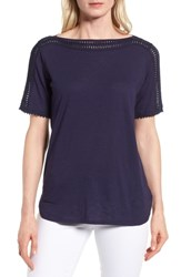 Chaus Crochet Trim Boat Neck Top Evening Navy