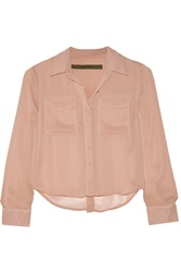 Enza Costa Cropped Georgette Shirt Pink