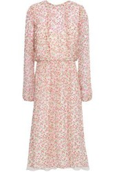 Mikael Aghal Woman Floral Print Crepe Midi Dress Off White Off White