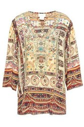 Camilla Woman Indiana Franks Crystal Embellished Printed Silk Crepe De Chine Blouse Cream