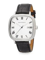 Saks Fifth Avenue Stainless Steel And Leather Square Dial Watch Black