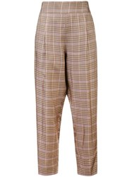 N 21 No21 Checked Cropped Trousers Brown