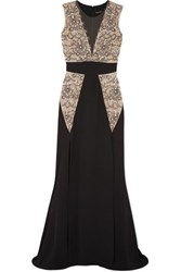 Reem Acra Embellished Tulle And Silk Crepe Gown Black