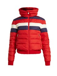Perfect Moment Queenie Striped Quilted Down Ski Jacket Red Multi