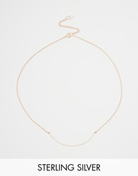 Asos Rose Gold Plated Sterling Silver Fine Curved Bar Necklace Rosegold