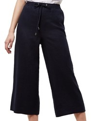 Jaeger Linen Wide Leg Cropped Trousers Navy