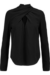 Temperley London Soleas Split Back Silk Crepe De Chine Blouse Black