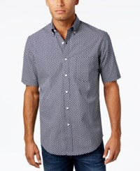 Club Room Men's Turtle Print Cotton Shirt Only At Macy's Navy Blue