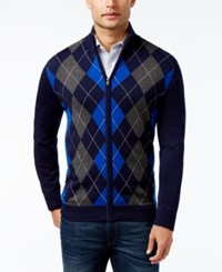 Club Room Men's Zip Front Argyle Sweater Only At Macy's Navy Blue