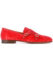 Santoni Double Buckle Loafers Men Leather Calf Suede Metal 8 Red