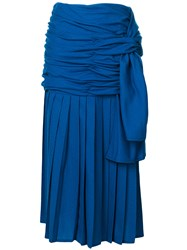 Versace Vintage Draped Midi Skirt Blue