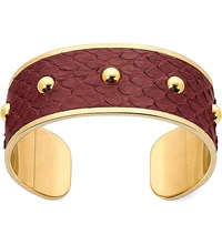 Aspinal Of London Athena Python Leather Cuff Bracelet S Burgundy