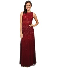 Adrianna Papell Sleeveless Beaded Mesh Ombre Gown Cranberry Women's Dress Red