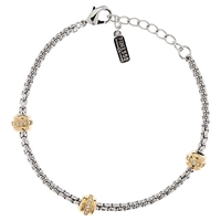 Finesse Swarovski Crystal Station Two Tone Bracelet Rhodium Gold