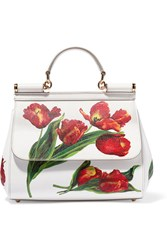 Dolce And Gabbana Sicily Medium Floral Print Textured Leather Tote