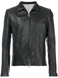 A Diciannoveventitre Slim Fit Leather Jacket Horse Leather Polyester Black