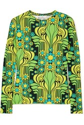 Richard Quinn Printed Stretch Crepe Top Green