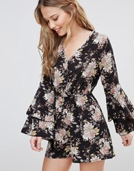 Influence Wrap Playsuit With Ruffle Sleeves Black Floral