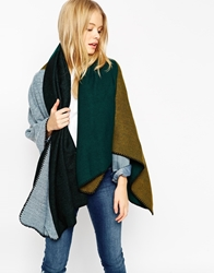 Asos Colour Block Oversized Square Scarf Green