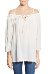 See You Monday Off The Shoulder Peasant Top Ivory
