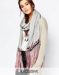 Blank Bl Nk Tencel Scarf With Embroidery And Tassels Gray
