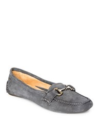 Patricia Green Carrie Suede Driver Moccasins Charcoal Grey