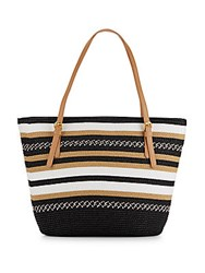 Saks Fifth Avenue Striped Straw Tote Bag Black