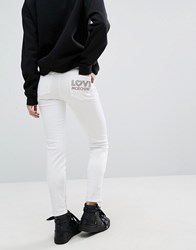 Love Moschino Skinny Fit Jeans With Logo On Back Pocket Optical White