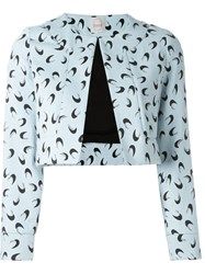 Eggs Half Moon Print 'Rafael' Cropped Jacket Blue