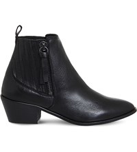 Office Luca Leather Western Boots Black Leather